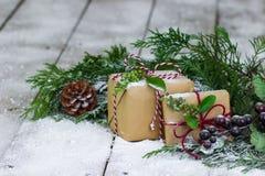 Présents sur le fond d'hiver Photos stock