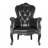 Présidence en cuir noire antique Photos stock