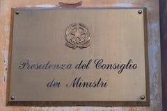Présidence italienne du Conseil des ministres photos stock