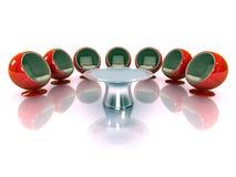 présidences 3d modernes rouges avec la table Photographie stock libre de droits