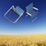 Présidences de pelouse au-dessus de zone de blé. Images stock