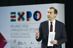 Président de Giuseppe Sala de la station thermale 2015 d'expo Photo stock