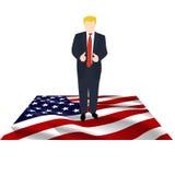 Président de l'Amérique sur le drapeau illustration de vecteur