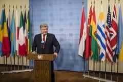 Président de l'Ukraine Petro Poroshenko dans l'Assemblée générale de l'ONU Photographie stock libre de droits