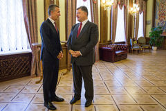 Président de l'Ukraine Poroshenko et sécrétaire général d'OTAN Jens Images libres de droits