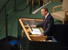 Président de la Pologne Andrzej Duda sur la soixante-dixième session de l'ONU Photos libres de droits