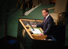 Président de la Pologne Andrzej Duda sur la soixante-dixième session de l'ONU Photo stock