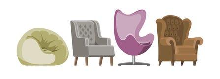 Présidez la conception confortable de pouf de fauteuil et de siège de meubles de vecteur dans l'ensemble intérieur meublé d'illus illustration libre de droits