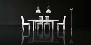 Présidez une table pour faire face à un mur blanc Photographie stock libre de droits