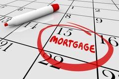 Préstamo Bill Due Date Calendar del pago de casa de la hipoteca Fotografía de archivo libre de regalías