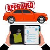 Préstamo de coche aprobado, ejemplo del vector, estilo plano Fotos de archivo libres de regalías