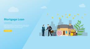 Préstamo de hipoteca o concepto casero de la compra de las propiedades inmobiliarias para la bandera u homepage del aterrizaje -  stock de ilustración
