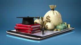 Préstamo de los costos de educación, escuela, collage, edificio del campus universitario en el teléfono elegante, cojín elegante, ilustración del vector