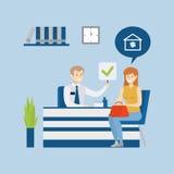 Préstamo hipotecario en el banco stock de ilustración