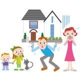 Préstamo hipotecario y familia Imagenes de archivo