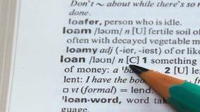 Préstamo, significando en el vocabulario inglés, comprando las propiedades inmobiliarias, dinero para el negocio metrajes