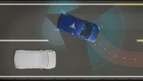Prévention des collisions, prévention de départ de ruelle, véhicule autonome, technologie motrice automatique La voiture téléguid illustration de vecteur
