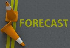 PRÉVISION, message sur la route illustration stock