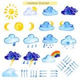 Prévisions météorologiques d'icônes d'aquarelle Photographie stock libre de droits