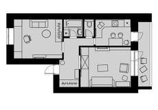 Prévoyez l'appartement à une chambre de dessin avec des meubles sur un gris de retour Image libre de droits