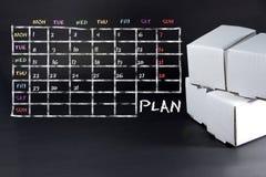 Prévoyez la liste écrite avec la craie blanche sur le tableau noir Planification du d Photos libres de droits