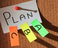 Prévoyez a, le plan b, le plan c ! Photo libre de droits