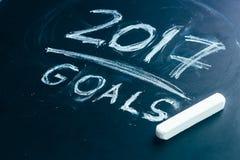 Prévoyez une liste de buts pour 2017 sur le tableau noir Image libre de droits
