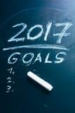 Prévoyez une liste de buts pour 2017 sur le tableau noir Images libres de droits