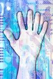 Prêt d'une main dans l'âge digital illustration stock