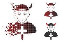 Prêtre tramé Devil Icon de pixel cassé avec le visage illustration stock