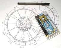 Prêtresse de Natal Chart Tarot Card The d'astrologie haute illustration stock
