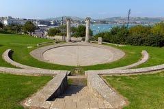 Príncipe BRITÁNICO Albert Gardens de Swanage Dorset Inglaterra con el amphitheatre y visión sobre ciudad Fotografía de archivo libre de regalías
