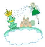 Príncipe Cartoon Character y hada hermosa de la rana Imagen de archivo libre de regalías