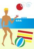 Príncipe Charming na praia ilustração do vetor