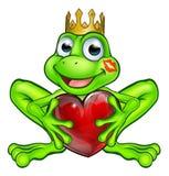 Príncipe da rã dos desenhos animados com coração do amor Fotografia de Stock Royalty Free