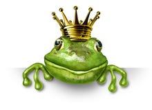Príncipe de la rana con la pequeña corona del oro Imagenes de archivo