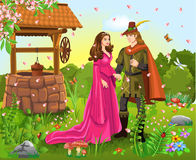 Príncipe e princesa no poço de desejo Ilustração Royalty Free