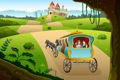 Príncipe e princesa que montam um vagão Imagens de Stock Royalty Free