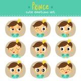 Príncipe, emociones lindas del niño pequeño fijadas Imágenes de archivo libres de regalías