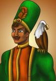 Príncipe extranjero con su águila stock de ilustración