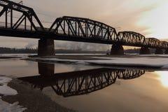 Príncipe George Rail Bridge, río de Fraser Fotos de archivo