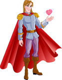 príncipe louro charming com coração cor-de-rosa Foto de Stock