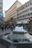 Príncipe Michael Street da rua de Knez Mihailova no centro da cidade de Belgrado, Sérvia fotografia de stock