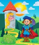 Príncipe perto da torre com princesa ilustração stock