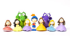 Príncipe, princesas e dragão no branco Imagem de Stock