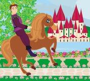 Príncipe que monta un caballo al castillo Imágenes de archivo libres de regalías