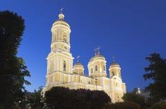 Príncipe Vladimir Cathedral en la noche en St Petersburg Imagen de archivo libre de regalías