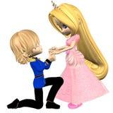 Príncipe y princesa lindos del cuento de hadas de Toon Fotos de archivo libres de regalías