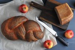 Próżnuje z makowymi ziarnami i połówką chlebowy brać zbliżenie - appl Zdjęcie Royalty Free