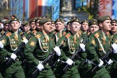 Próba kostiumowa parada na cześć zwycięstwo dzień na placu czerwonym na 7 może 2017 Kadeci Moskwa rozkazu wojskowego wysoki sc Zdjęcie Stock